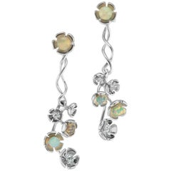 18 Karat White Gold Vine Earrings with Diamond and Opal Bead Flowers