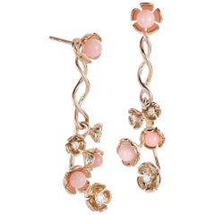 18 Karat Yellow Gold Vine Earrings with Diamond and Pink Opal Flowers