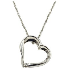 0.10 Carat Diamond Floating Heart Pendant 18k White Gold on 14k White Gold Chain