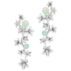 18 Karat White Gold Star Jasmine Vine Earrings with Diamond and Opal Flowers