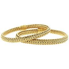 18 Karat Yellow Gold John Hardy Rope Bracelet Bangles, Super Flexible