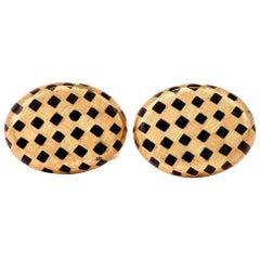 1970s La Triomphe Checkered Black Enamel Gold Men's Cufflinks