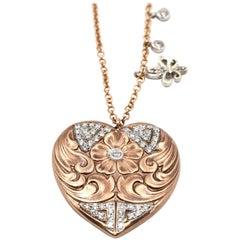 0.28 Carats Diamond 18k Rose & White Gold Heart with Fleur-de-Lis Tag Necklace