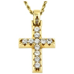 Diamond Cross Necklace on Rope Chain 14 Karat Yellow Gold