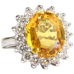 11.81 Carat Natural Yellow Sapphire Diamonds Ring 14 Karat Canary Bright