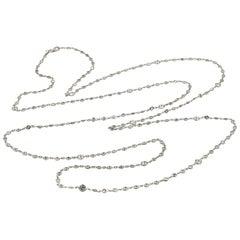 13.62 Carat Round Brilliant Diamonds by the Yard Necklace 18 Karat White Gold