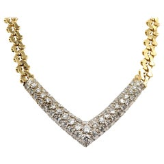 "1.38 Carat Diamond ""V"" Necklace 14 Karat Yellow Gold"