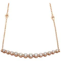 Diamonds by the Yard Bar Necklace 14 Karat Rose Gold