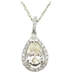 1.53 Carat Diamond 14 Karat White Gold Pendant Necklace