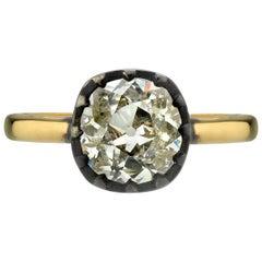 1.39 Carat Old Mine Cut Diamond Engagement Ring