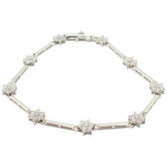 14 Karat White Gold and CZ Cluster Flower Station Bracelet 5.2 Grams