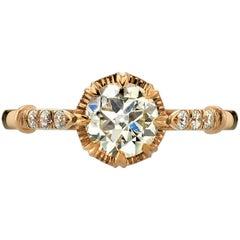 Old European Cut Diamond Rose Gold Engagement Ring