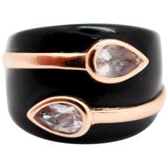 14 Karat Rose Gold, Black Onyx and Kunzite Ring