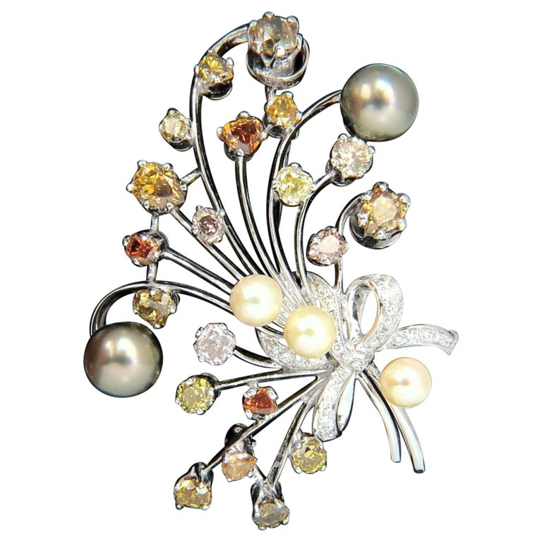6.00 Carat Natural Fancy Color Yellow Orange Brown Pink Diamond Brooch and Pearl