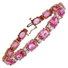 22.46ct natural Vivid Pink Sapphire diamond bracelet 14kt g/vs pink statement