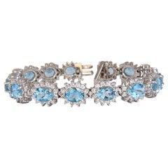 22 Carat Natural Aquamarines Diamonds Bracelet 14 Karat G.VS