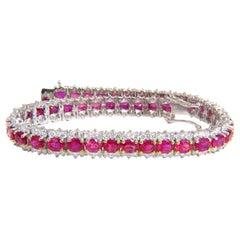 13.81 Carat Bright Vivid Red Natural Ruby Tennis Bracelet 14 Karat Three-Row
