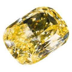 GIA Certified 20.08 Fancy Intense Yellow Cushion Cut Diamond