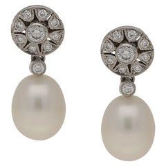 18 Karat Pearl Diamond Drop Earrings