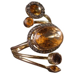 Ia Jewels 14 Carat Gold Citrine Yellow Sapphire Diamond Cocktail Ring