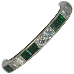 Art Deco Platinum Emerald and Diamond Full Eternity Band or Stack Ring