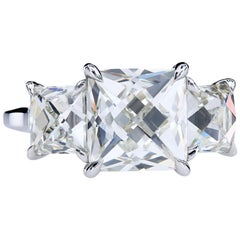 GIA Certified 3.18 Carat N/VS1 French Cut Diamond Engagement Three-Stone Ring
