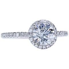 GIA Certified 1.01 Carat J/VS1 Round Diamond Engagement Halo Ring in Platinum