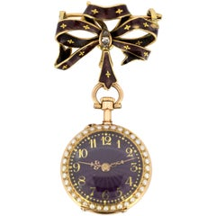 Antique 18 Karat Gold and Enamel Pocket Watch / Brooch, circa 1900