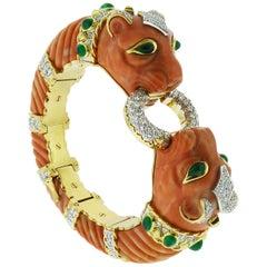 Diamond Coral Cabochon Emeralds 18K YG&Platinum Twin Lion Bracelet by D.Webb