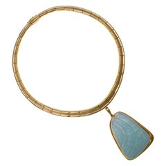 Unique Haroldo Burle Marx, Aquamarine and Gold Pendant on a Gold Torque