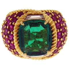 6.04ct Cushion-Cut Emerald, Round Rubies and Diamonds 18K Gold Ring by D. Webb