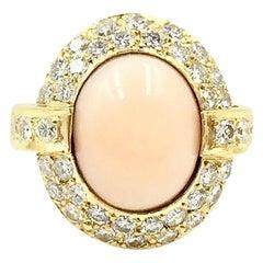 Cindy Royce 18 Karat Oval Coral and Pavé Diamond Ring