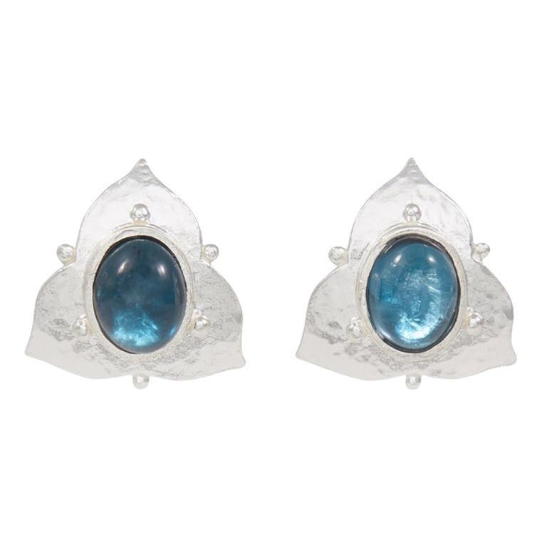 Silver London Blue Topaz Earrings