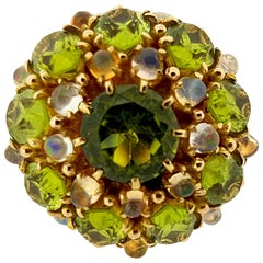 Peridot and Opal Yellow Gold Cocktail Ring