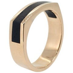 Ring Gent's, Gold Combination Ebony Wood, Handmade