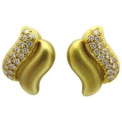 Marlene Stowe Diamond Double Wave Clip-On Earrings 18 Karat Yellow Gold