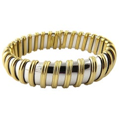 Roberto Coin Nabucco 18 Karat White and Yellow Gold Bangle Bracelet