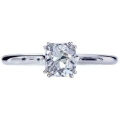 GIA Certified 0.83 I/VS1 True Antique Cushion Diamond Platinum Engagement Ring