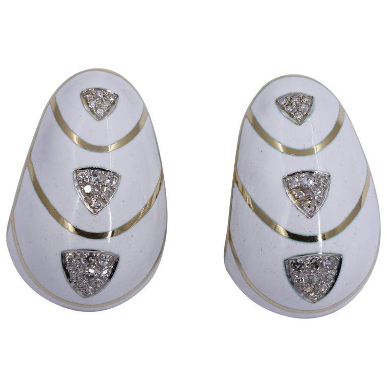 White Enamel Diamond and Gold Earrings