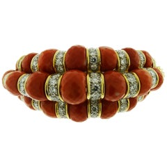 Gold and Platinum Coral and Diamond Bracelet by David Webb