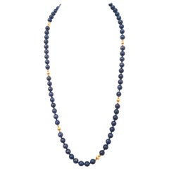 14 Karat High Quality Lapis Lazuli with Fluted and Smooth Accents