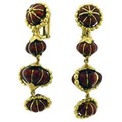 Red Enamel 18 Karat Yellow Gold Hanging Earrings by David Webb