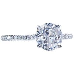 GIA Certified 1.66 Carat H/SI2 Old European Diamond Platinum Solitaire