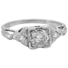Antique .45 Carat Diamond and 18 Karat White Gold Art Deco Engagement Ring