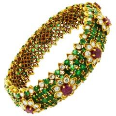 Emerald Diamond and Ruby 18 Karat Yellow Gold Bracelet