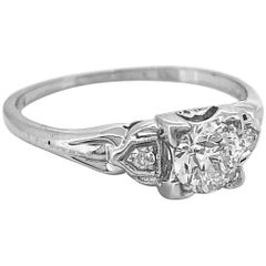 Art Deco .50 Carat Diamond Antique Engagement Ring 18 Karat White Gold
