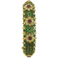 Emerald Diamond and Ruby 18 Karat Yellow Gold Bracelet by David Webb