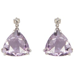 Rose de France Amethyst Diamond Drop Gold Earrings