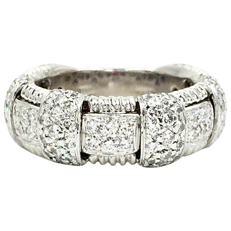Roberto Coin Ionata 18 Karat White Gold Woven Diamond Ring For