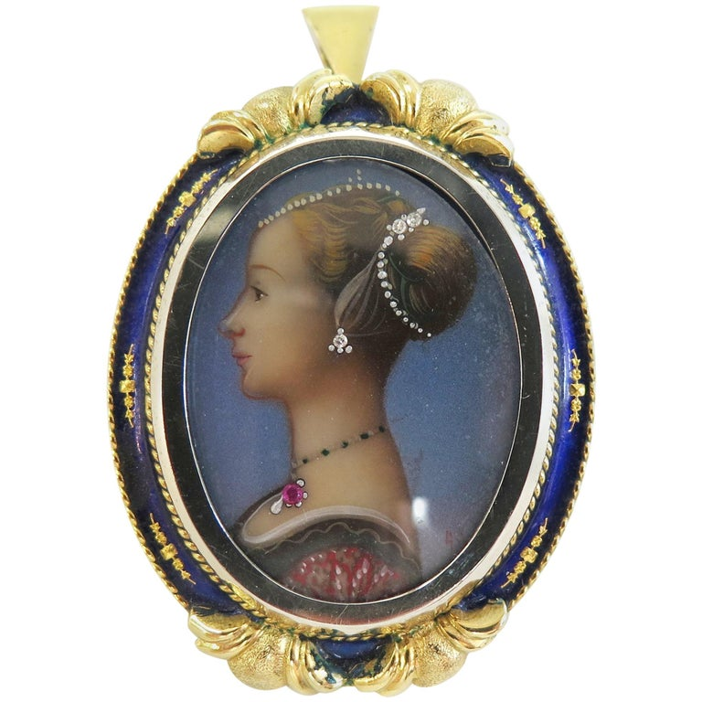 Victorian Hand-Painted Portrait Pin  Pendant